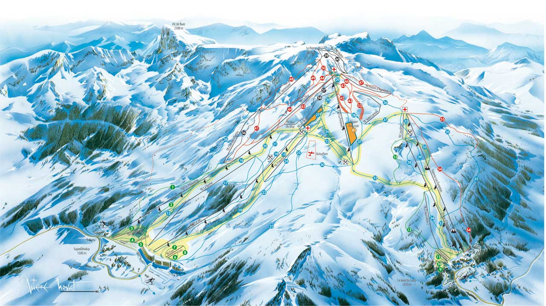 Piste map of the Devoluy Massif